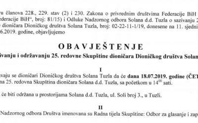 Obavještenje o sazivanju 25. redovne Skupštine dioničara Dioničkog društva Solana Tuzla