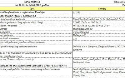 Polugodišnji izvještaj o poslovanju Solana d.d. Tuzla za period 01.01-30.06. 2019 godine
