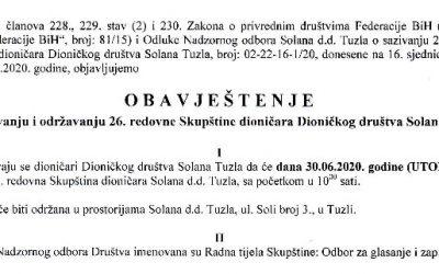 Obavještenje o sazivanju i održavanju 26. redovne Skupštine dioničara Dioničkog društva Solana Tuzla