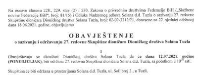 Obavještenje o sazivanju i održavanju 27. redovne Skupštine dioničara Dioničkog društva Solana Tuzla