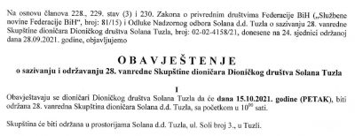 Obavještenje o sazivanju i održavanju 28. vanredne Skupštine dioničara Dioničkog društva Solana Tuzla